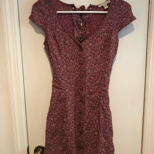 AE American Eagle Floral Mini Lace Up Dress XS
